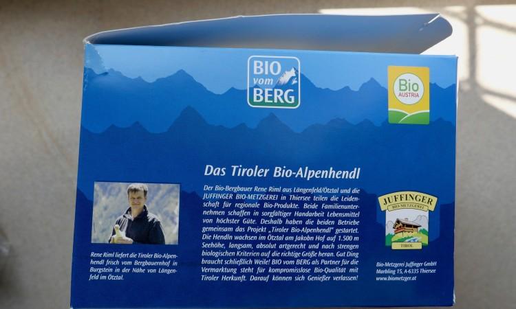 Tiroler Spitzenerzeugnis Bio-Alpenhendl von Riml und Juffinger 2020