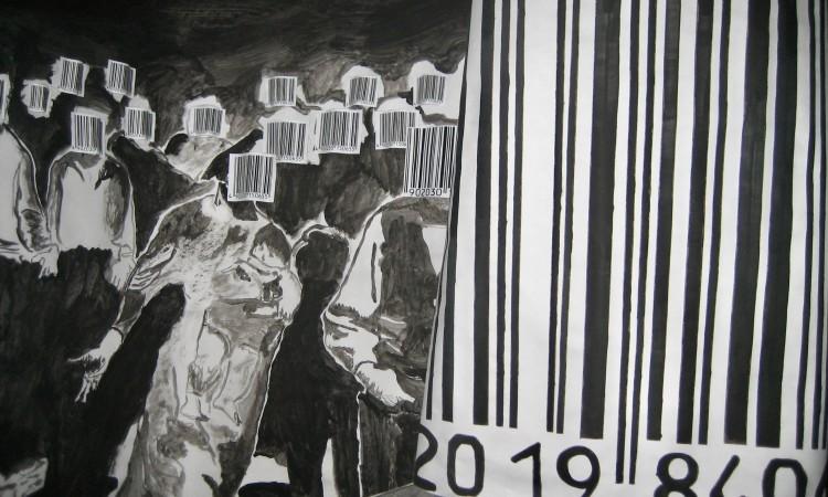 Barcode 1984 - Kunst-Arbeit im Gymnasium Beda Weber, Meran 2007