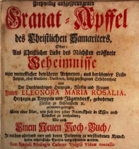 """Ab 1695 mehrfach aufgelegt: der """"Granatapfel"""" von Rosalia"""